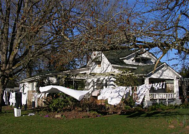laundry hung out to dry at Goodwood House, Oregon