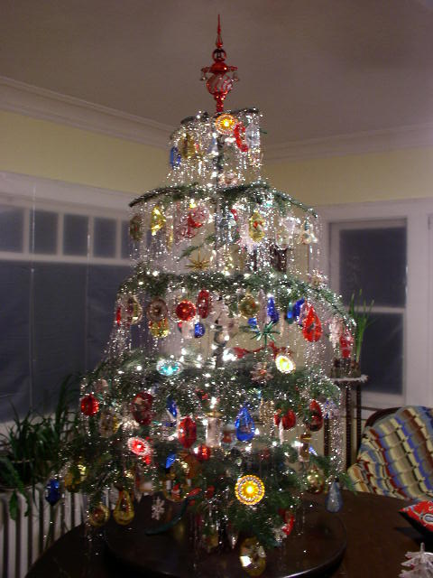 Delightful 60s Christmas Tree Part - 9: This Tree Is Done With Plastic Ornaments And Light Covers From The 60s. I  Did This One In 2003. I Need A Bigger House To Do More Trees!